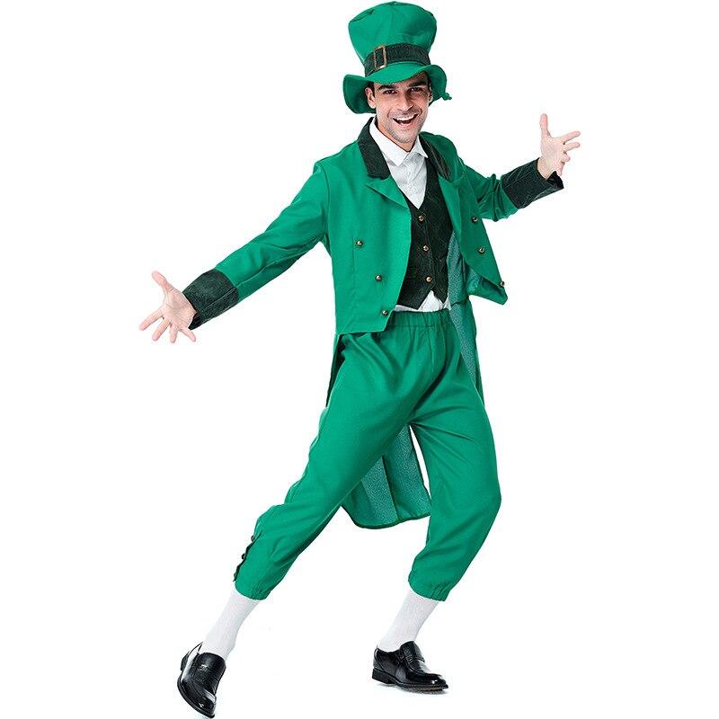 Disfraz de Duende irlandés para hombre adulto, disfraz de San Patricio
