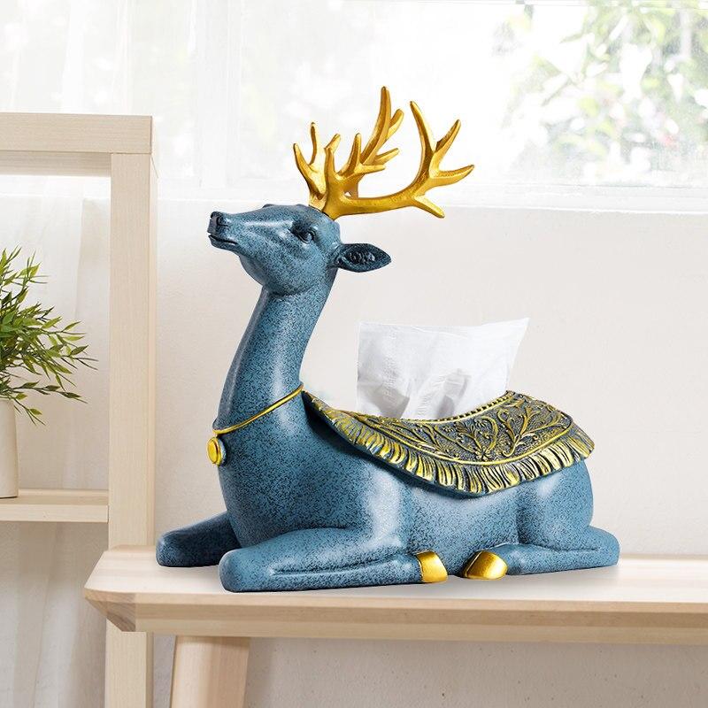 Ciervo europeo caja de pañuelos de comida sala de estar creativa bandeja simple bonita decoración del hogar