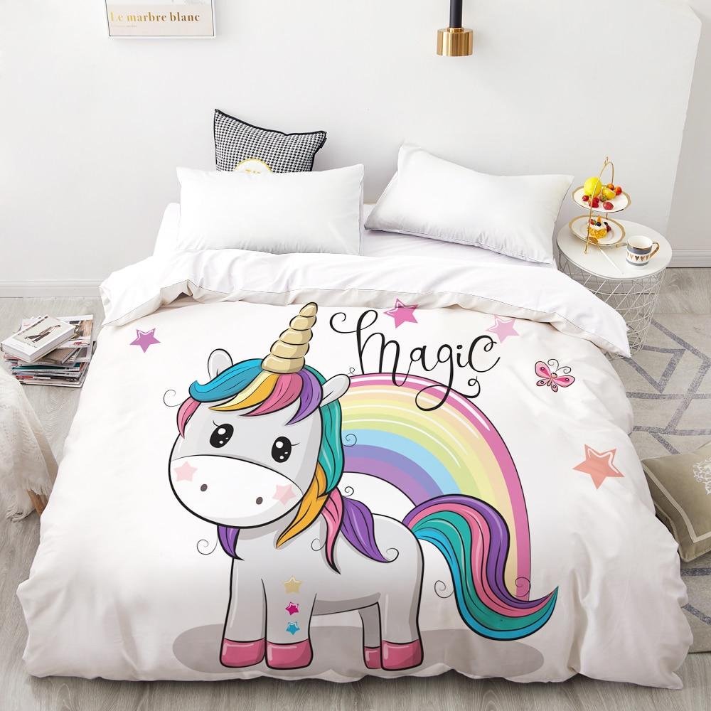 3D impresora Digital HD de funda nórdica niños niño bebé edredón/funda de Manta reina de dibujos animados ropa de cama estrellas bonitas unicornio