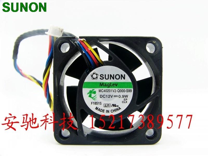 For Sunon 4020 MC40201V2-Q000-S99 4CM 12V 0.9W 4 wire cooling fan