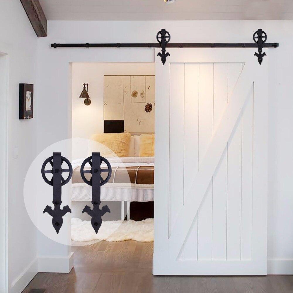 LWZH-باب خشبي ريفي على شكل زهرة ، مجموعة أدوات خزانة ، باب الحظيرة منزلق ، سهم أسود ، ببكرات كبيرة ، لباب منزلق مفرد