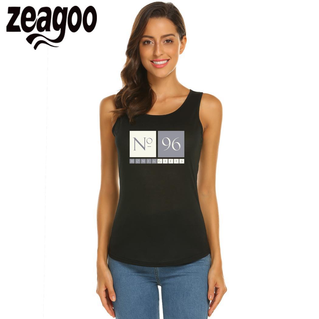 Zeagoo футболка Повседневное с круглым вырезом без рукавов Slim Fit Мягкий Для женщин