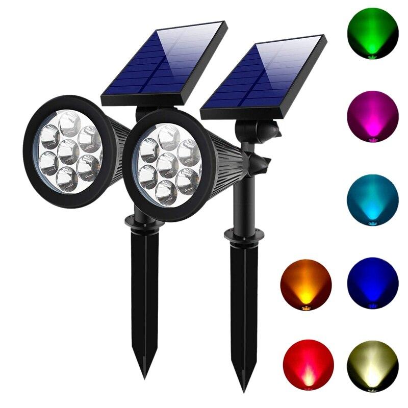 2 комплекта 7 Светодиодный точечный светильник на солнечной батарее, наружные солнечные светильники, водонепроницаемые цветные точечные светильники для сада, ландшафтные прожекторы, темные прожекторы