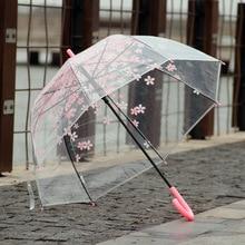 Japanese Cherry flower plastic umbrella thickening transparent umbrella children and  adult long handle umbrella