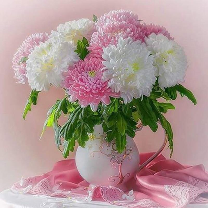 "Full Square Diamond 5D DIY Round Diamond Painting Flower ""vase"" Embroidery Cross Stitch Rhinestone Mosaic Painting Decor D1938"