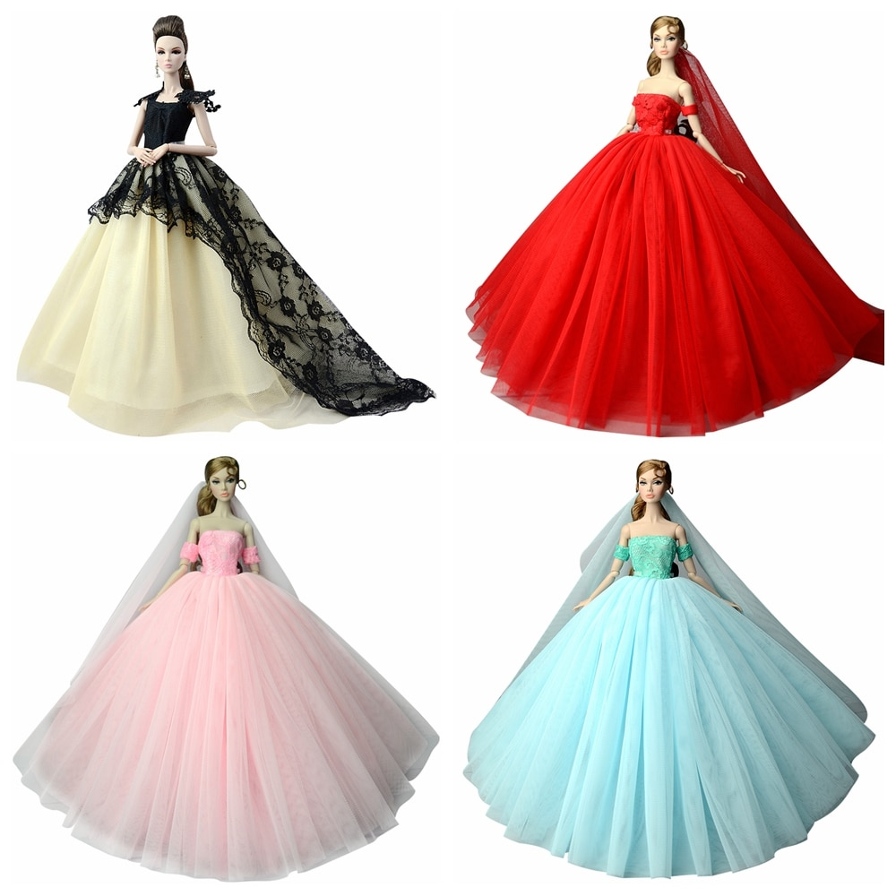 Nk boneca vestido de alta qualidade artesanal cauda longa vestido de noite roupas rendas vestido de casamento para barbie 16 boneca melhor presente 1ajj