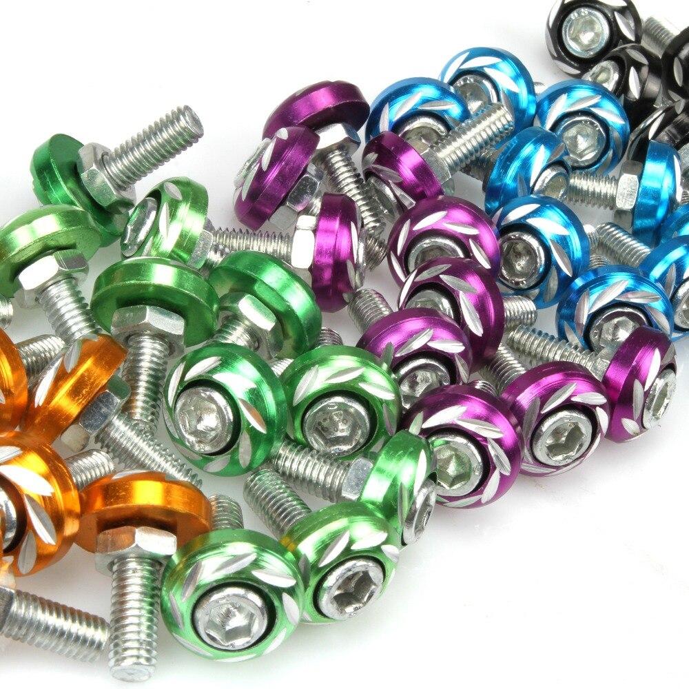5 uds. Tornillo de placa de 6mm + perno + tuerca de aleación de aluminio para motocicleta/coche eléctrico, accesorios de coche coloridos de Metal rojo y azul