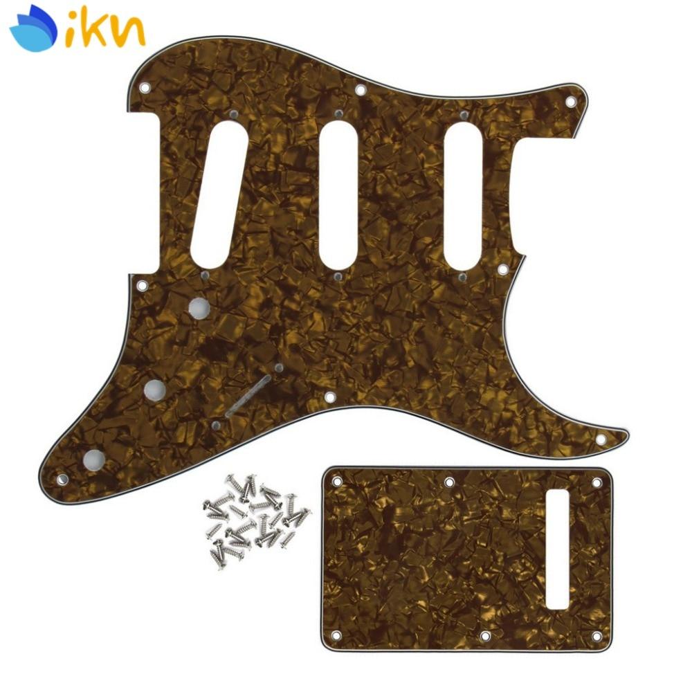 Новый набор США винтажная 8 отверстий SSS электрогитара маркер Страт задняя пластина и винты для гитарных частей коричневый жемчуг 4Ply
