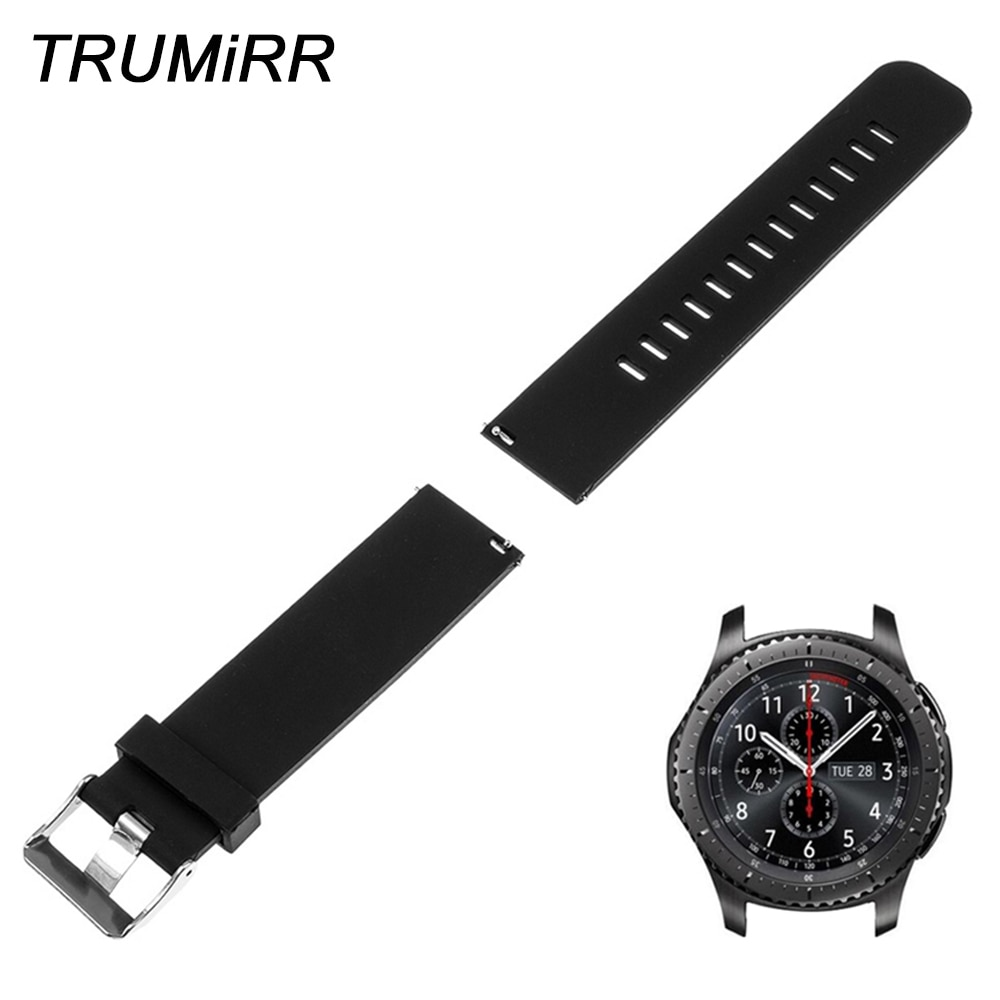 22mm Quick Release Silicone Rubber Watch Band for Samsung Gear S3 Classic Frontier Garmin Fenix Chronos Wrist Strap Bracelet