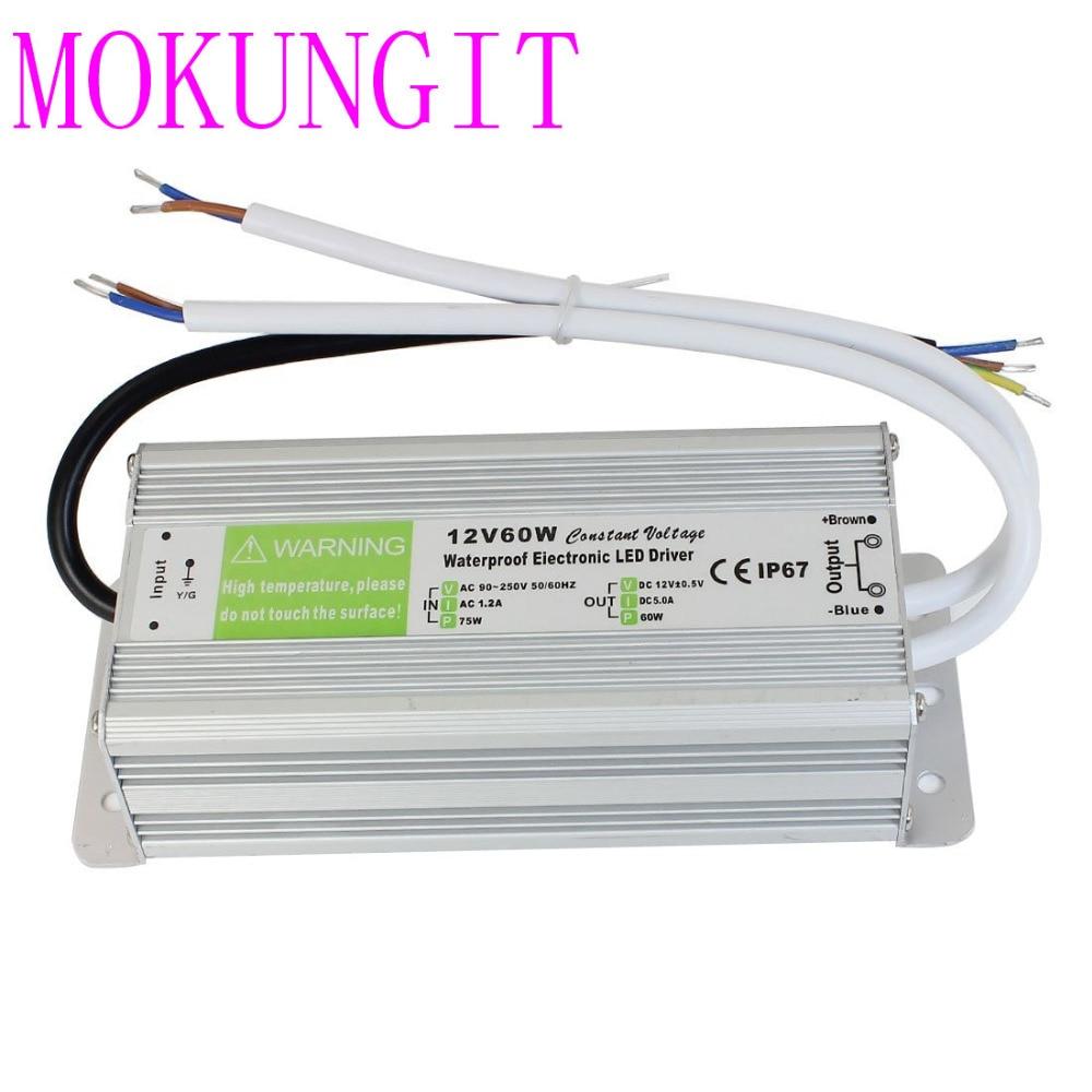 Водонепроницаемый блок питания 12 В 60 Вт источник 5 А для светодиодных лент
