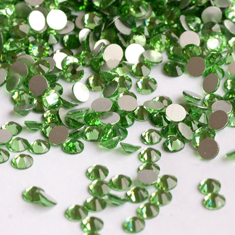 YANRUO 2058NoHF SS30 Peridot 288Pcs Flat Back Non Hot Fix Strass DIY Nails Rhinestones Crystal Glass Stones For Crafts