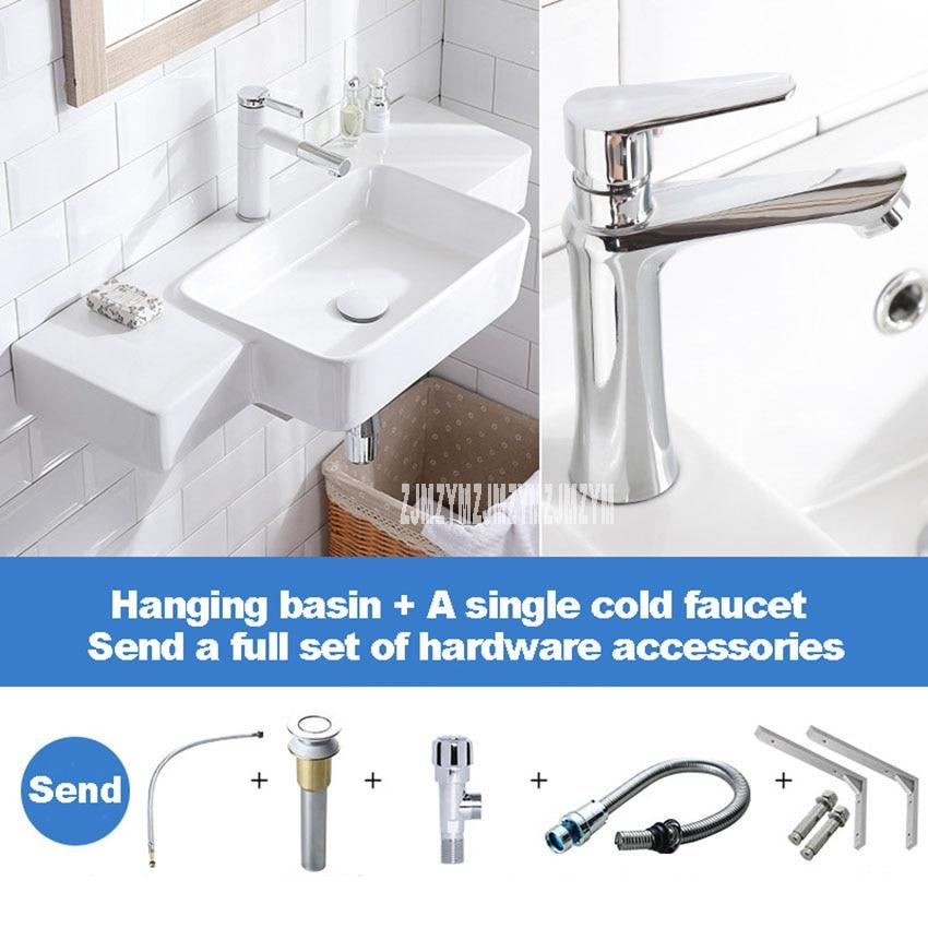 حوض حائط من قطعة واحدة ، شرفة ، حمام ، سيراميك ، حوض غسيل مستطيل
