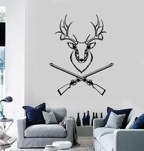 Naklejki ścienne winylowe głowa jelenia polowanie myśliwy obszar naklejki malowidła, naklejki koła myśliwskiego, dekoracja salonu domu DW06