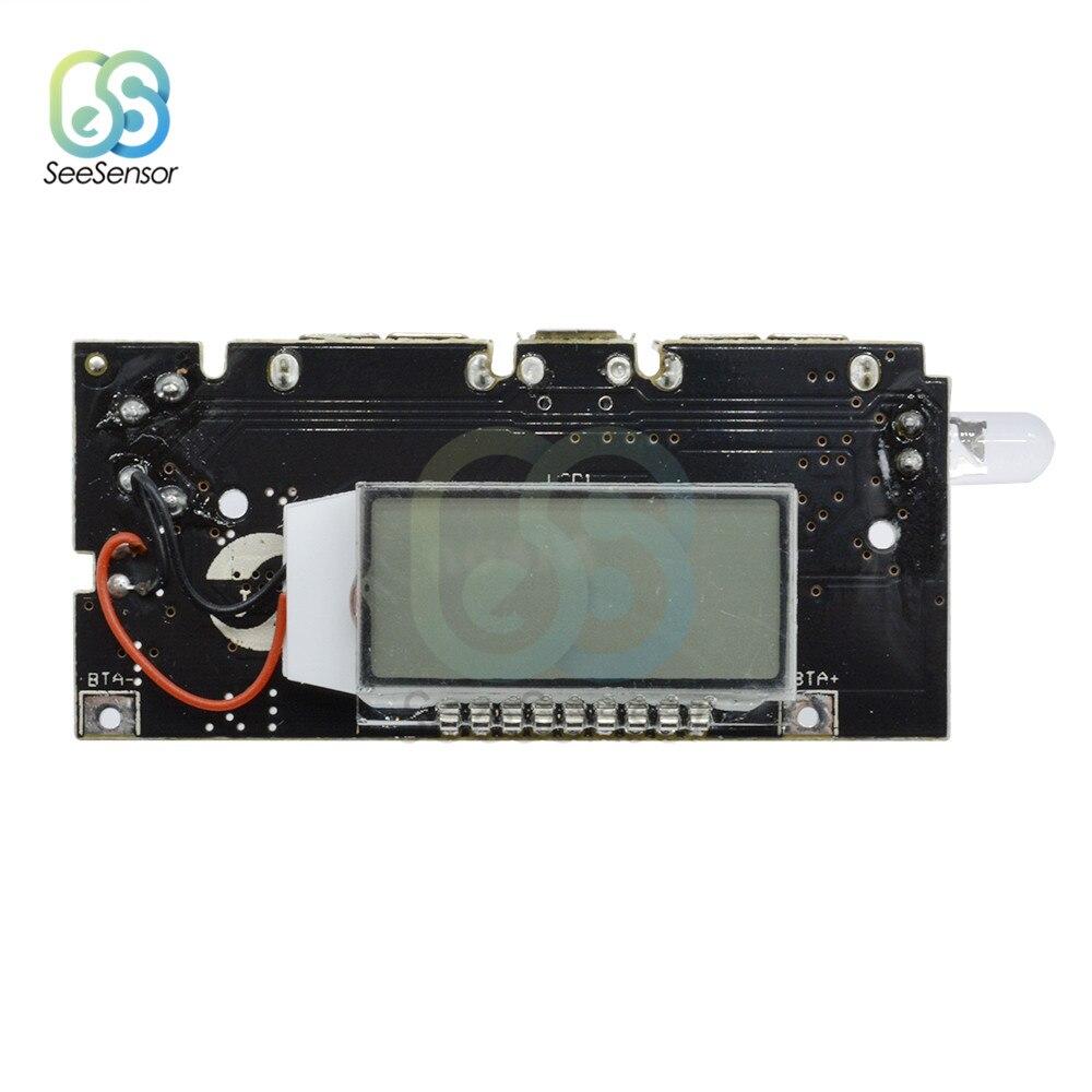 Dual USB 5V 1A 2.1A banco de energía móvil 18650 Placa de cargador de batería de litio módulo de potencia LCD Digital Display PCB para teléfono DIY