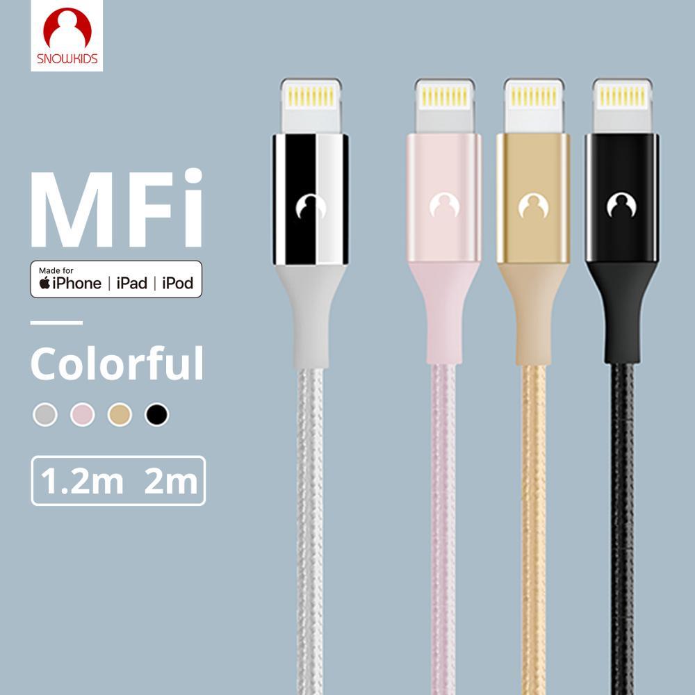 Cable MFi Snowkids para Lightning a USB para iPhone 11X8 7 6 5 X XR XsMax, Cable largo compatible con iOS 13 sincronización de datos