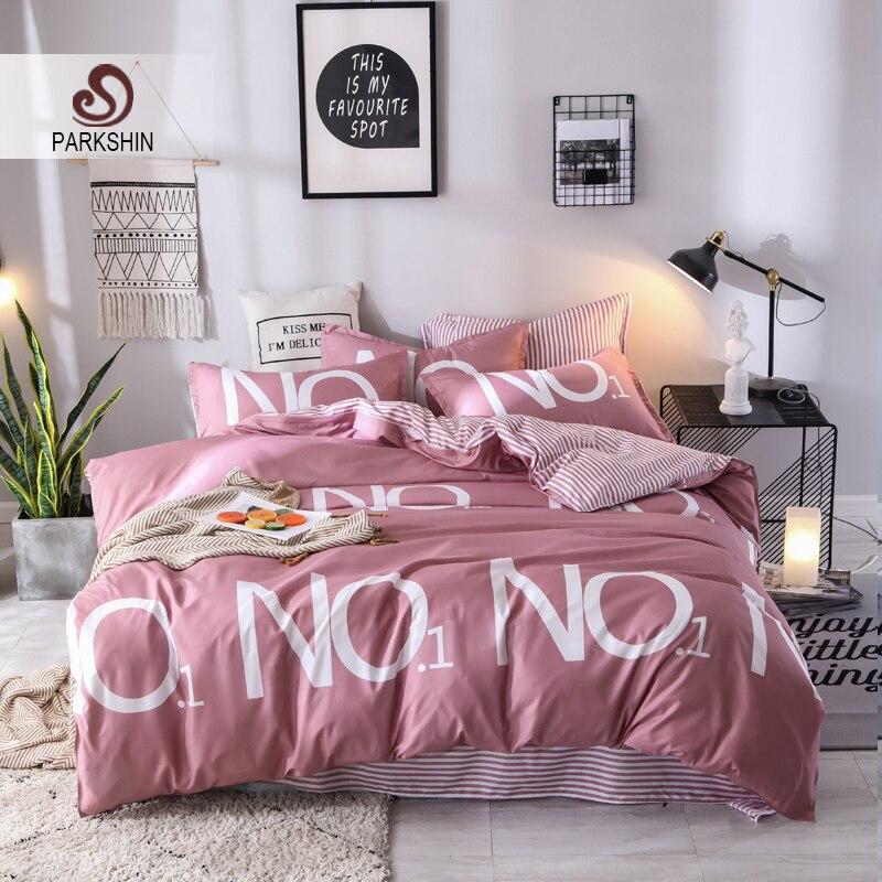 Juego de ropa de cama ParkShin n. ° 1 cama a rayas sábana edredón juego de ropa de cama Rosa 3/4 piezas decoración para el hogar juego de cama doble de tamaño Queen