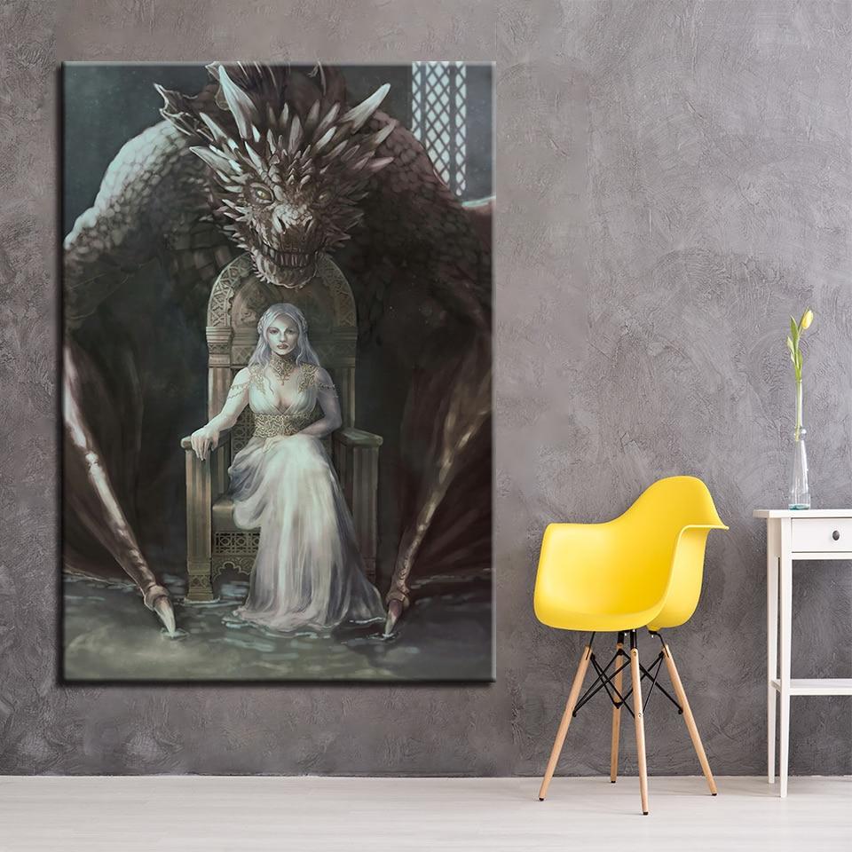 Lienzos con pinturas modernas, decoración de pared para el hogar, 1 pieza por pieza, imágenes de Juego de tronos para sala de estar, marco de carteles impresos en HD