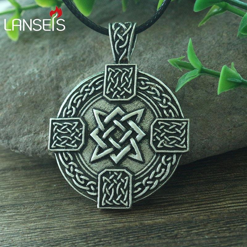 lanseis 1pcs viking men necklace pendant slavic Ruth Cross pendant small Svarog square  talisman pagan  jewelry