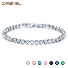 CARSINEL nouvelles femmes mode couleur argent Bracelets de luxe rond zircon cubique Bracelet pour femmes bijoux de mariage cadeau BR0129