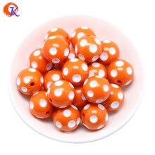 Envío Gratis 100 Unids/lote Naranja 20 MM Resina Polka Dot Granos de la Resina Granos Redondos Gruesos para Chunky Collar Joyería CDWB-514052