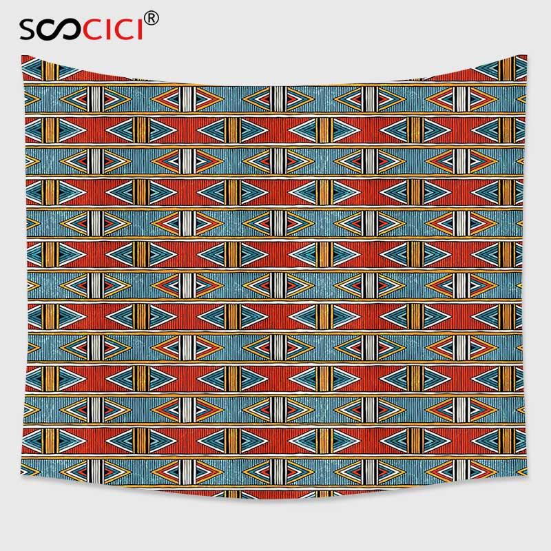 Tapiz colgante de pared Cutom, decoración Tribal, patrón étnico Oriental con detalles geométricos con líneas triángulos y rayas