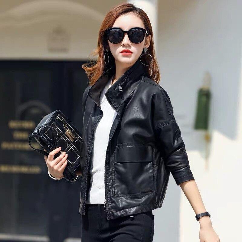 Tema 21 chaqueta de cuero de Pu, nueva moda para mujer, abrigo negro para motocicleta, abrigo corto de piel sintética de talla grande, chaqueta Casual para motorista, ropa de abrigo