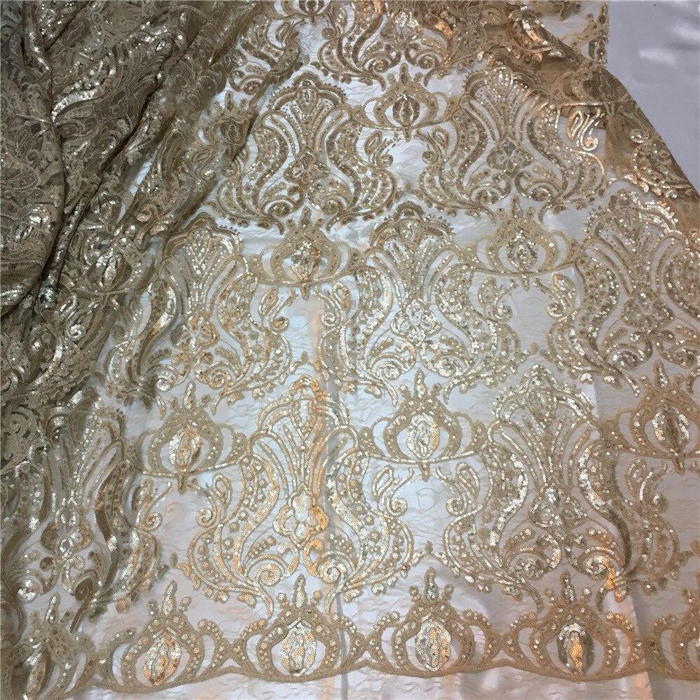 JRB-20278 último Bling bling tela con encaje de red francés champagne dorado africano tela de encaje, de tul, de lentejuelas para vestido de fiesta