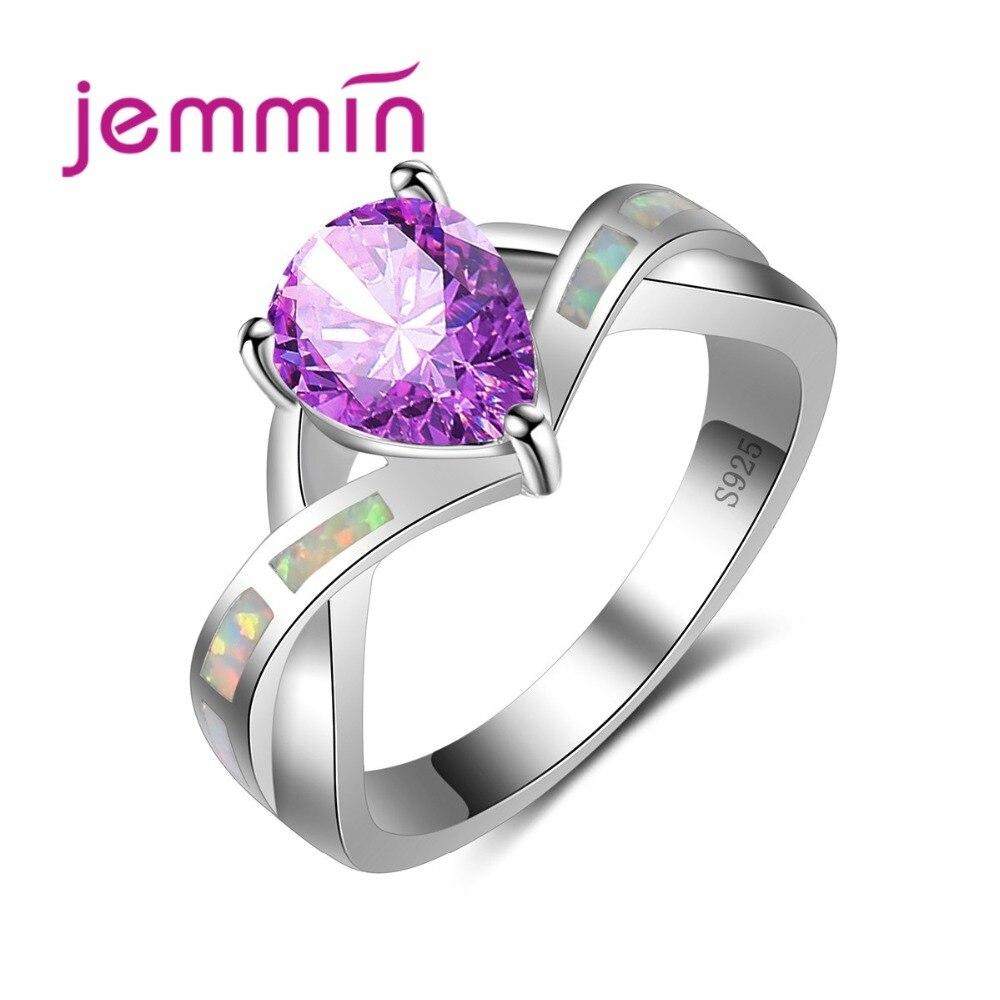 Elegante Cruz anillo de ópalo de arco iris 925 Plata de Ley Bijoux con gran cristal violeta para mujeres regalo clásico tipo gota de agua