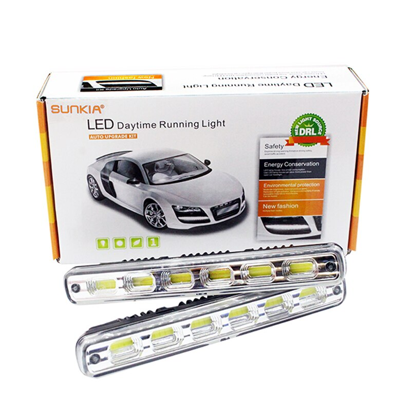 2 Teile/satz SUNKIA Super Helle Auto LED DRL COB Wasserdicht Nebel Lampe Auto LED Tagfahrlicht Mit Auf/Off Funktion