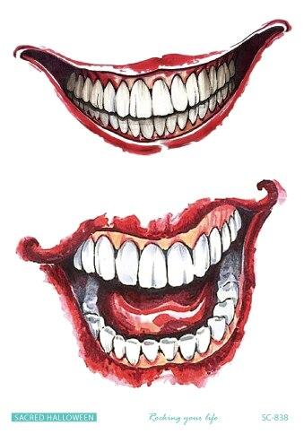 Tatuagem temporária à prova dwaterproof água tatuagem falsa etiqueta feliz dia das bruxas dente de sangue tatuagens tatouage tatto para menina