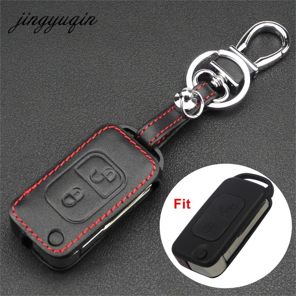 jingyuqin Leather Remote Key Fob Case For Mercedes Benz SLK E113 A C E S W168 W20 2 Button Flip Folding Car Key Cover