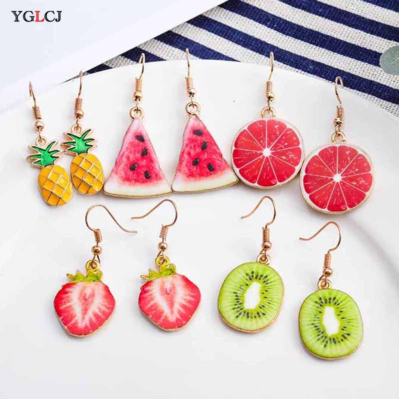 Korea New Cute Fruit Lady Earrings Strawberry Pineapple Tomato Kiwi Orange Cucumber Dragon Apple Girl