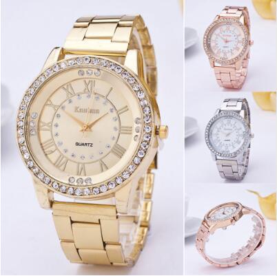 2019 Women Dress Watches Geneva Stainless Steel Watch Women Unisex Rhinestone Luxury Casual Men Quar