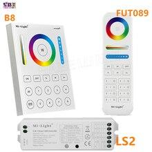 2.4G wireless FUT089 a distanza di 8 Zone RF Dimmer B8 Touch Panel parete LS2 5 in 1 led controller per RGB + CCT luce di striscia del led