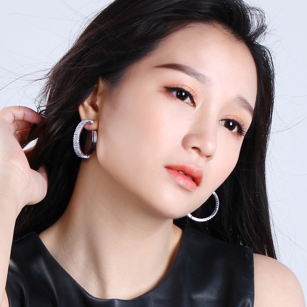 Hoop earring for statement 37 mm diameter brincos Cubic Zirconia allied express Big Circle Hoop Earrings bijoux Jewelry
