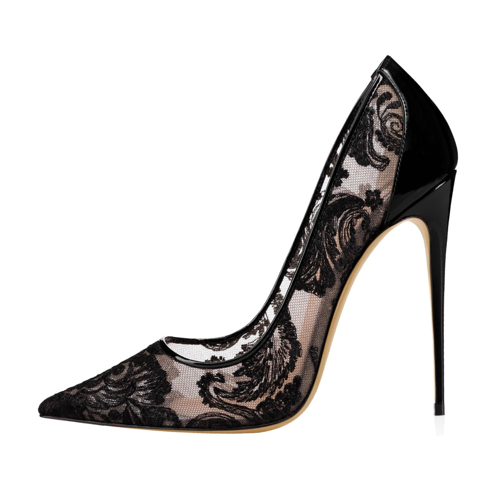 حذاء نسائي بكعب عالٍ من الدانتيل الشبكي باللونين الأسود والأبيض ، حذاء مثير بمقدمة مدببة ، D017A ، 2020