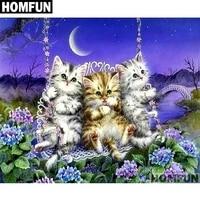 homfun squareround drill 5d diy diamond painting cute three cats embroidery cross stitch full rhinestone decor a01708