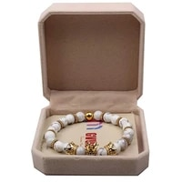 gold colour imperial crown white stone natural bead bracelet kingqueen luxury charm jewelry xmas gift for women men