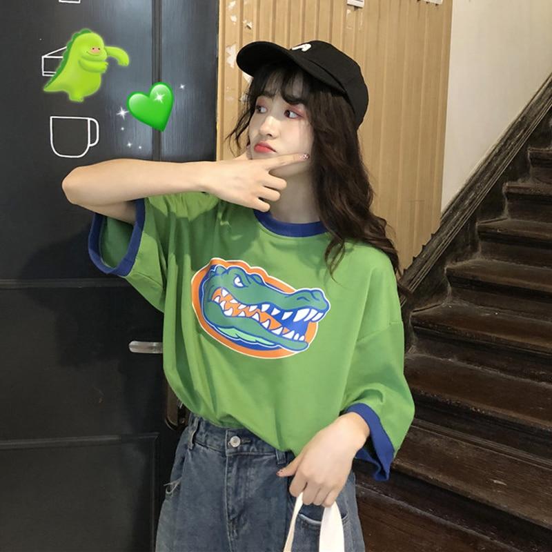 Moda verano camiseta mujer ropa 2020 estilo coreano Ulzzang Harajuku Camiseta de manga corta Mujer Casual Camiseta verde Top