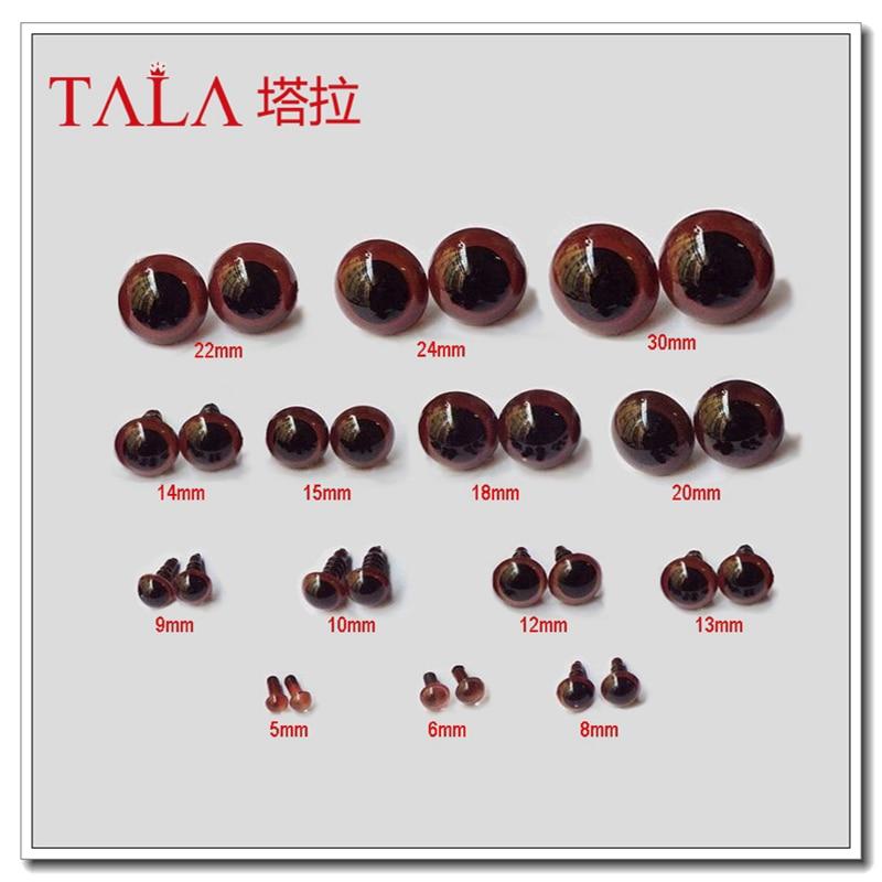 Защитные коричневые глаза для игрушек, 50 пар, 5 мм-30 мм, Цветные глаза для животных, бесплатная доставка