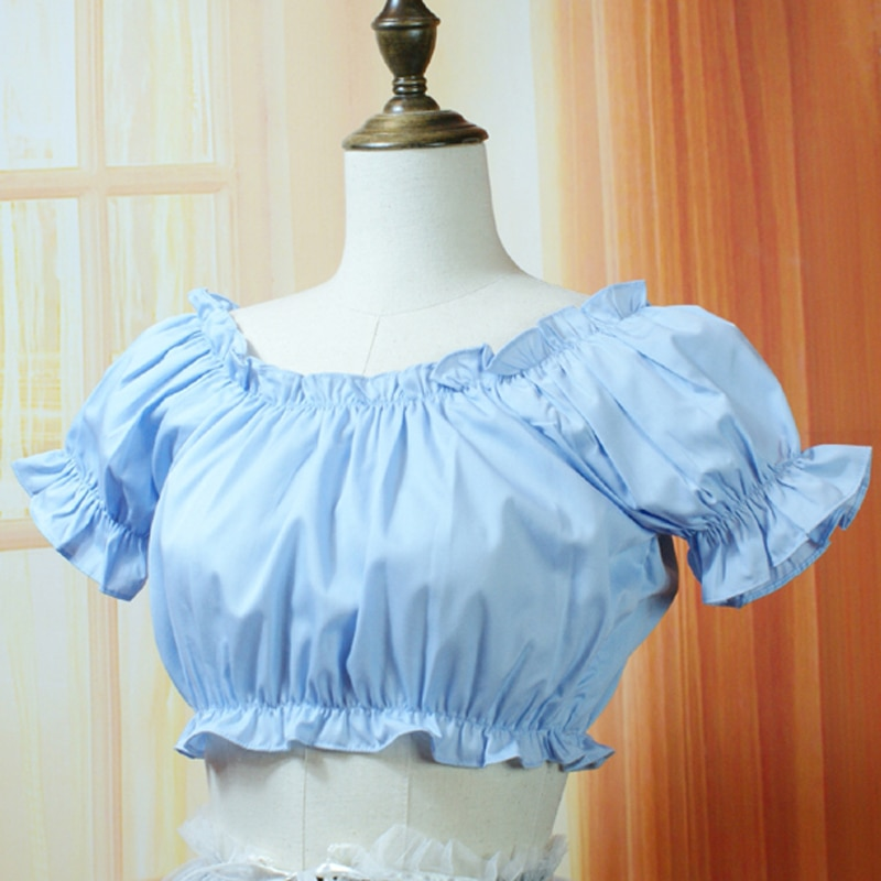 5 colors Summer women Casual short shirts Vintage Victorian Chiffon blouses Female lolita shirts tops