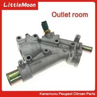 Aluminum Car Engine Cooling System Thermosta tHousing Flange For Peugeot 307 407 Citroen C4 C5 9687927980 1338.AV 1338AV 1336.X9