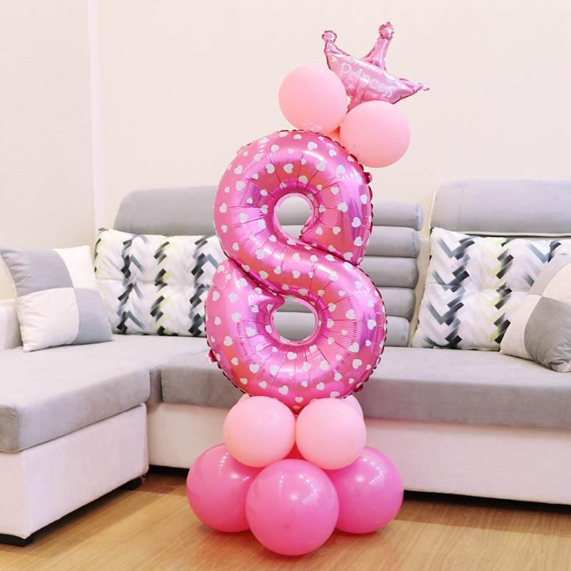 1 Juego de globos de números de papel rosa con corona de látex grueso bebé ducha cumpleaños decoración columna Digital globo de la Corona aire ballon