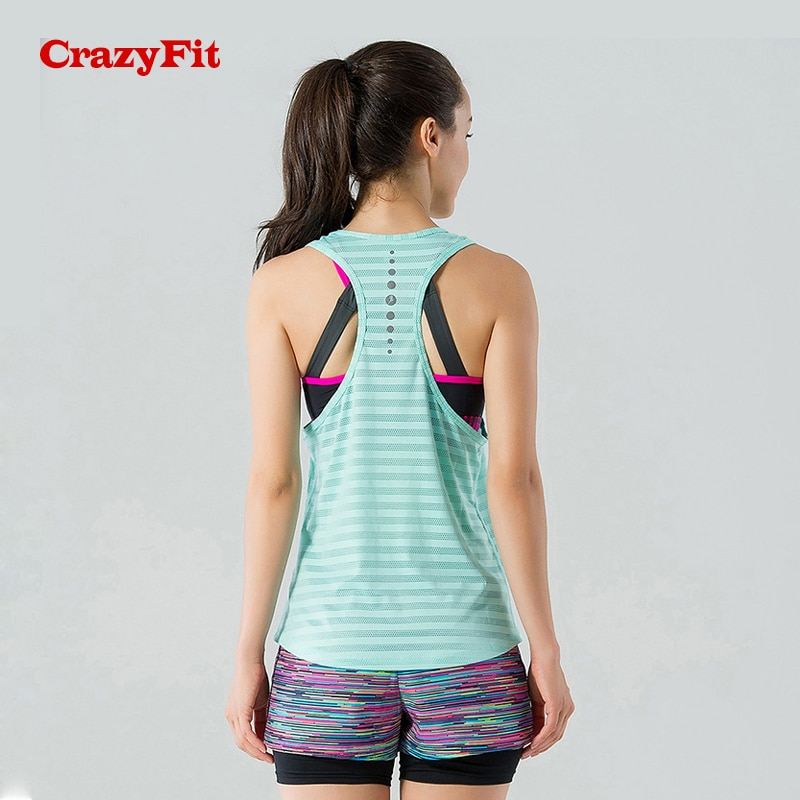 CrazyFit Mesh Hollow Out Sport Tank Top Women Shirt Quick Dry Fitness Yoga Workout Running Gym Yoga Top Clothing Sportswear