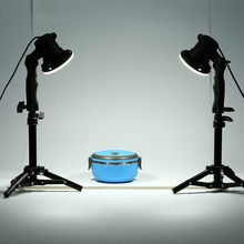 TRUMAGINE 2PCS Photo Studio Flash LED Lamp Photography studio light bulb Portrait Soft Box Fill Lights Bulb + 2*37CM Light Stand