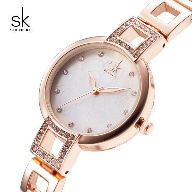 Shengke Women Bracelet Watches Stainless Steel Elegant Lady Dress Watch Brand Luxury Quartz Watches 2019 Relojes Mujer #K0019