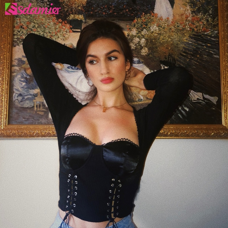 ESDAMIER otoño mujer cuadrado cuello Camiseta de manga larga Sexy encaje arriba Top corto ajustado femenino vendaje básico Top negro