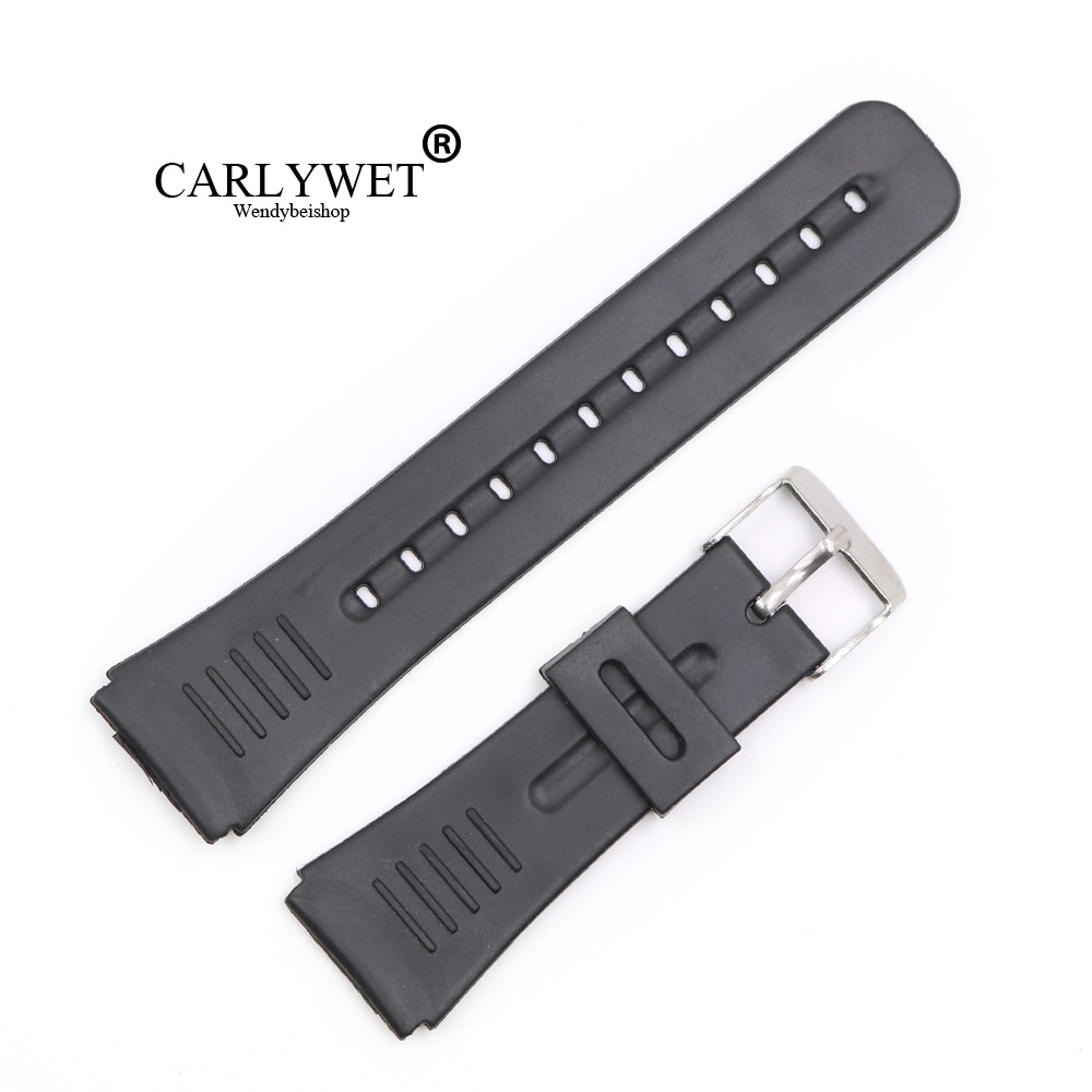 CARLYWET 22mm (20mm buckle) Black Silicone Rubber Straight  End watchband Strap Belt Silver Polished Pin Spring Bar Buckle