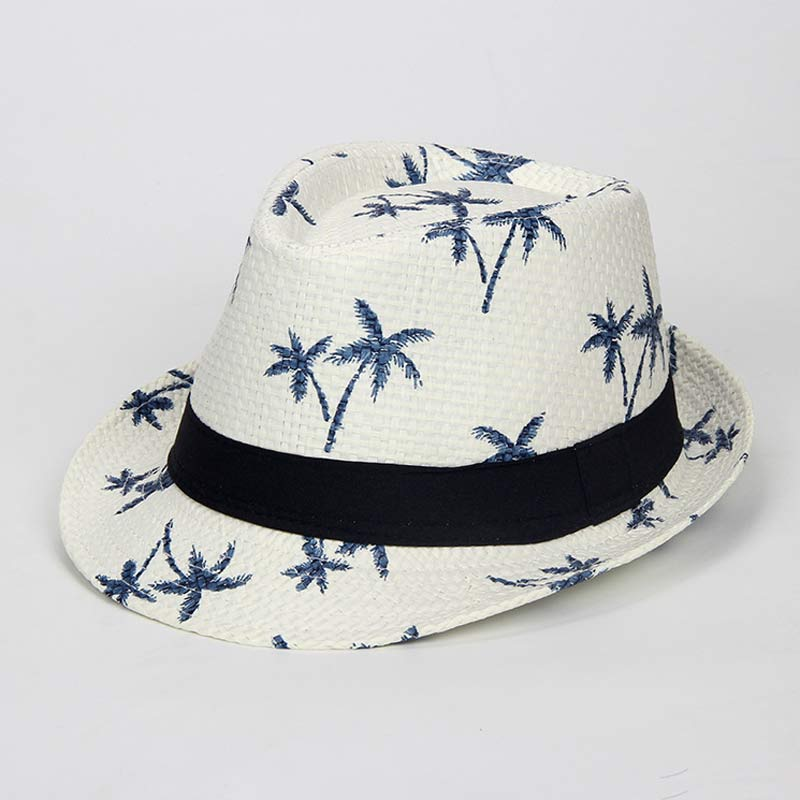 2-8yrs estampado Tropical Coco árbol niños paja Fedora viaje Hawaii playa Jazz sombrero tamaño 54 cm azul marino caqui marfil Beige