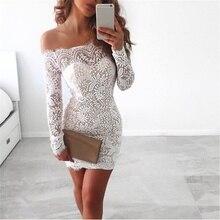 Femmes Sexy épaule dénudée dentelle blanche robe crayon soirée manches longues Slim fête moulante Mini robe Y3